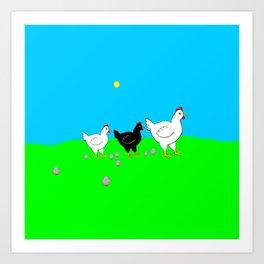 Hens and eggs Art Print