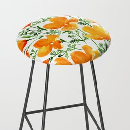 Watercolor California poppies Bar Stool