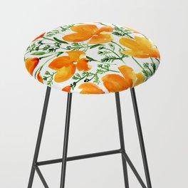 Watercolor California poppies Bar Stool