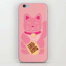Lucky Cat in Pastel Pink iPhone Skin