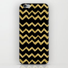 Golden Chevron on Black Background iPhone Skin