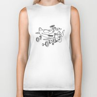 plane Biker Tanks featuring Pedal Plane by Mobii