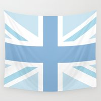 union jack Wall Tapestries featuring Blue Union Jack by Alesia D