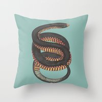 snake Throw Pillows featuring Snake by Magic Window