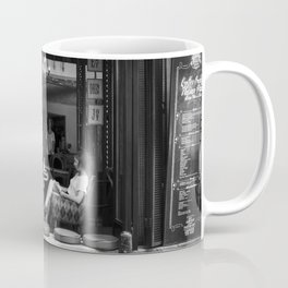 Morning coffee in a cafe - Black and white street photography Coffee Mug