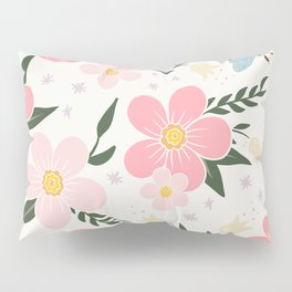 Spring Pink Cherry Blossoms Floral Pillow Sham