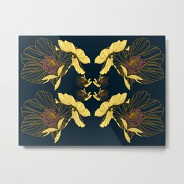 Art Nouveau Poppy Abstract Metal Print