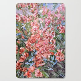 LET LIFE BE PASSIONATE LIKE SUMMER BOUGAINVILLEA-Original floral painting by HSIN LIN Cutting Board