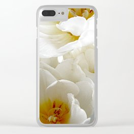 White tulips with afterglow centers Clear iPhone Case