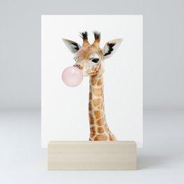 Bubble Gum Baby Giraffe Mini Art Print