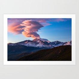 Fire on the Mountain - Sunrise Illuminates Cloud Over Longs Peak in Colorado Art Print
