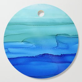Alcohol Ink Seascape Cutting Board