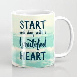 Start each day with a grateful heart Text on sea photo Coffee Mug