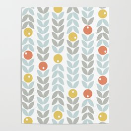 Mid Century Modern Retro Leaf and Circle Pattern Poster