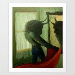 Bull And Mirror Art Print