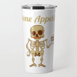 "Happy Halloween Shirt For October November Skully ""Bone Appetit"" T-shirt Design Creepy Spooky Travel Mug"