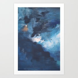 Ships in the Night: a vibrant abstract mixed-media piece in blues and golds by Alyssa Hamilton Art Art Print