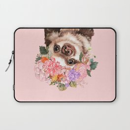 Baby Sloth with Flowers Crown in Pink Laptop Sleeve