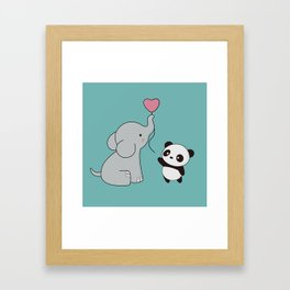 Kawaii Cute Elephant and Panda Framed Art Print