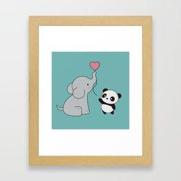 Kawaii Cute Elephant and Panda Framed Art Print