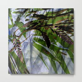 Crocosmia Shimmer in Sky, Leaf, Bronze Metal Print