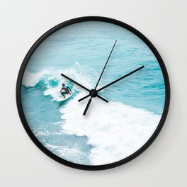 Wave Surfer Turquoise Wall Clock