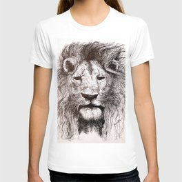 Lion Drawing Illustration Ink Black and White T-shirt