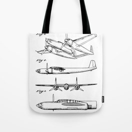 Hughes Lockheed Airplane Patent - Hughes Aviation Art - Black And White Tote Bag