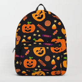 Happy halloween pumpkin, candies and lollipops pattern Backpack