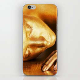 Close-up portrait of a gold girl's face (bodypainting art) iPhone Skin