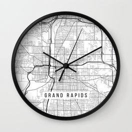 Grand Rapids Map, USA - Black and White Wall Clock