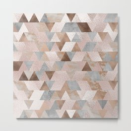 Copper and Blush Rose Gold Marble Triangles Metal Print