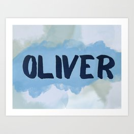 Oliver Blue and Green Art Print
