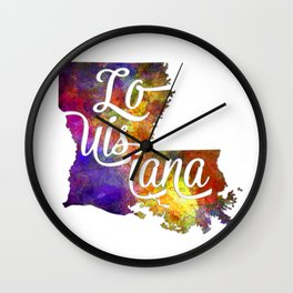 Louisiana US State in watercolor text cut out Wall Clock