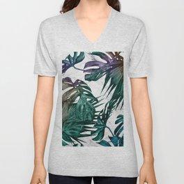 Tropical Palm Leaves on Marble Unisex V-Neck