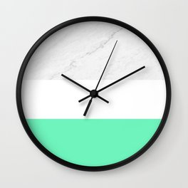 Marble Neon Mint-Green White Color Block Modern Geometry Wall Clock