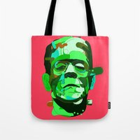 frank Tote Bags featuring Frank. by Huxley Chin