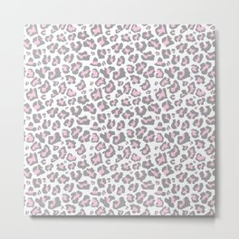 Pastel pink gray vector modern cheetah animal print Metal Print
