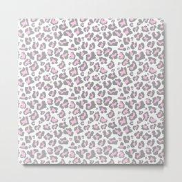 Pastel pink gray vector modern cheetah animal print Metal Print