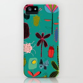 bugs and insects green iPhone Case