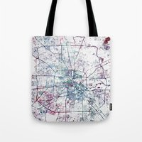 houston Tote Bags featuring Houston map by MapMapMaps.Watercolors
