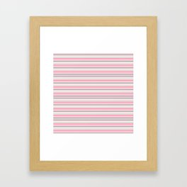 Gray and Pink Striped Pattern Framed Art Print