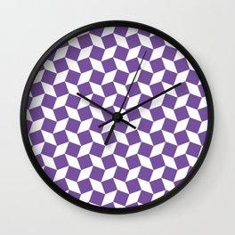 Purple Op Art Pattern Wall Clock