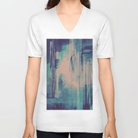 glitch V-neck T-shirts featuring slow glitch by La Señora