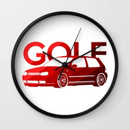 Volkswagen Golf Mk4 - classic red - Wall Clock