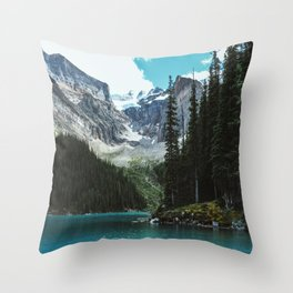 Canoeing in Moraine lake Throw Pillow