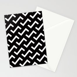 Geometric Pattern #36 (black white S shape pattern) Stationery Cards