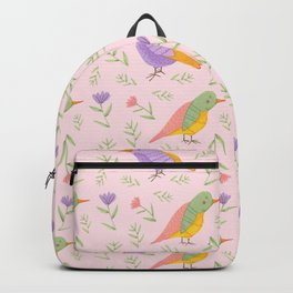 Birds and Flowers Gouache Pattern | Pastel birds and Flowers Backpack