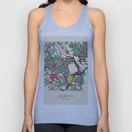 Colorful City Maps: Arlington County, Virginia Unisex Tank Top