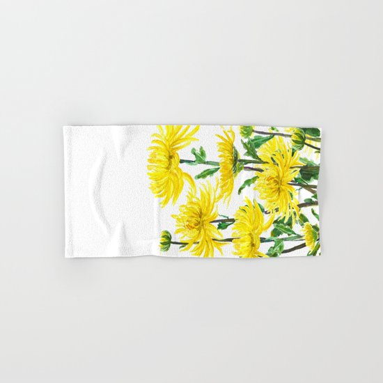 Yellow Chrysanthemums Hand & Bath Towel